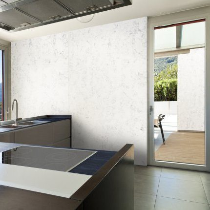 white walls and black counters