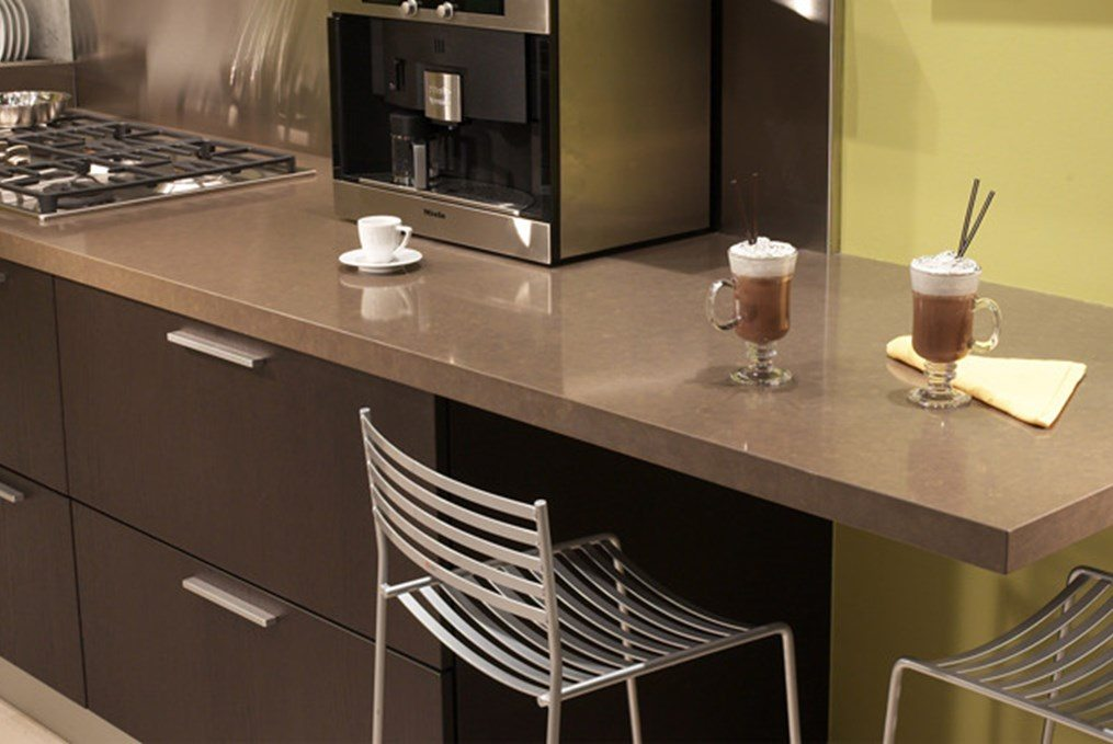 brown counter with coffee machine