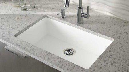 gray counters and white sink