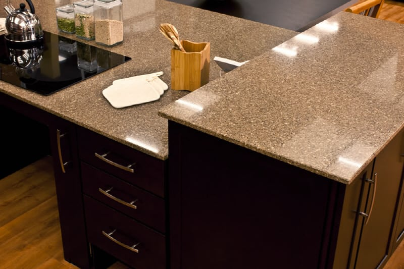 brown quartz kitchen counters