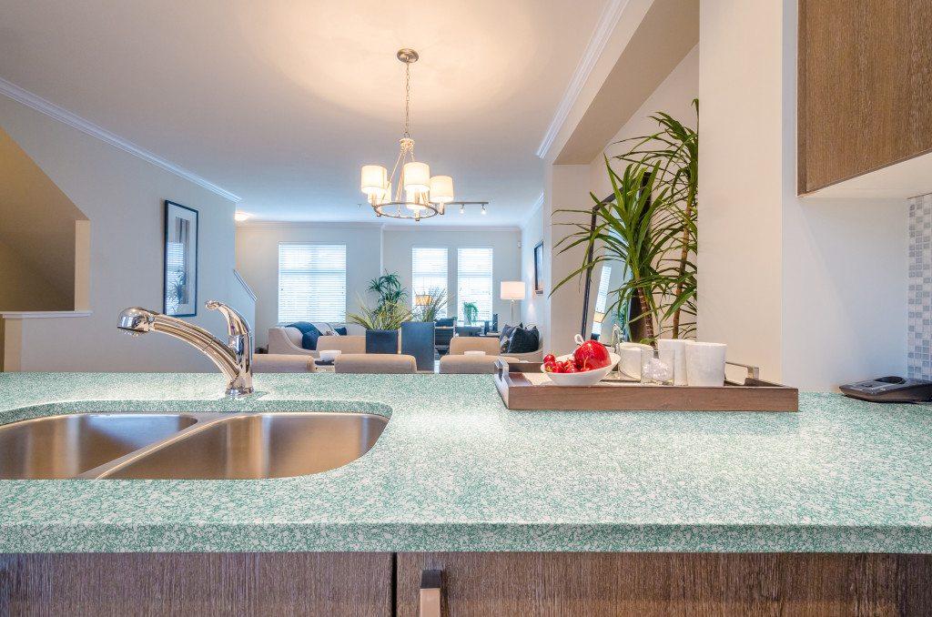 green kitchen counter