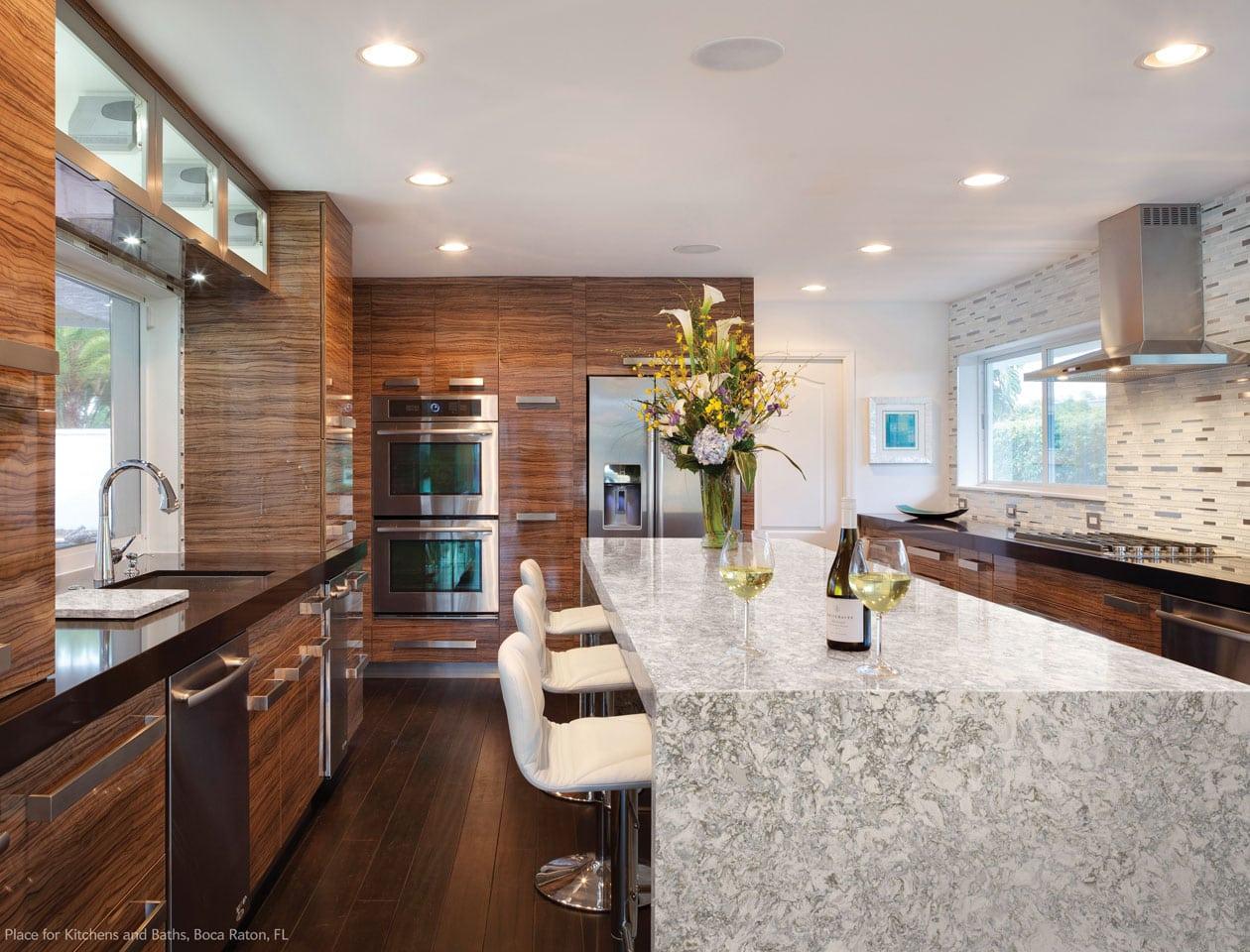 gray and white kitchen island