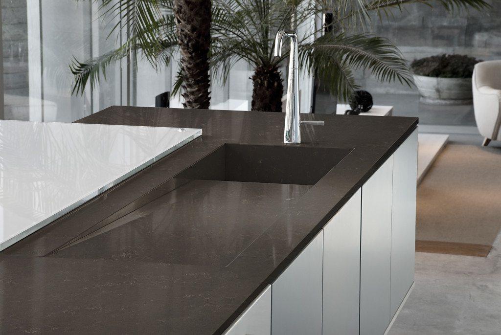 dark brown kitchen counter