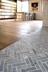 Grey herringbone kitchen floors.
