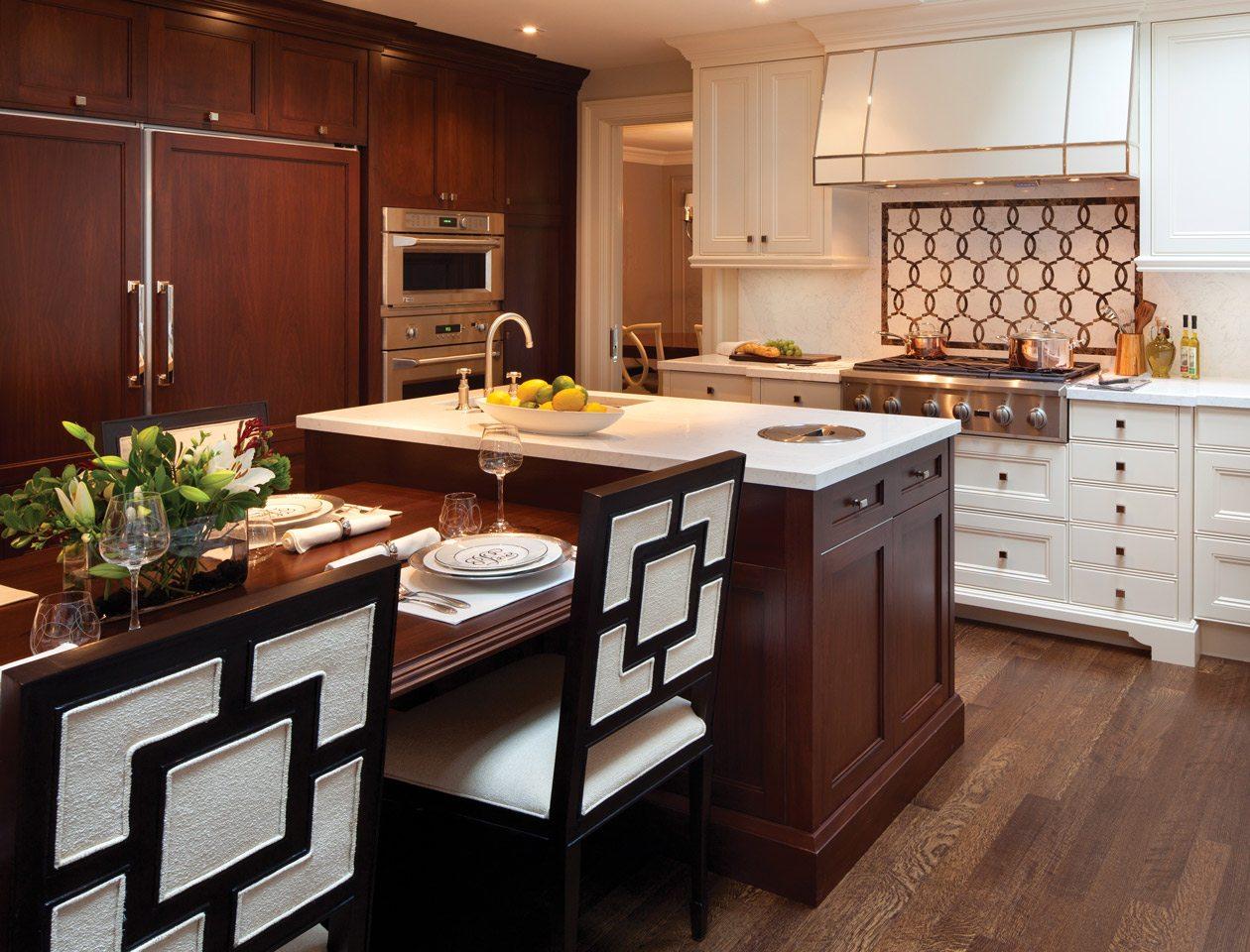 Modern kitchen with white quarts countertop