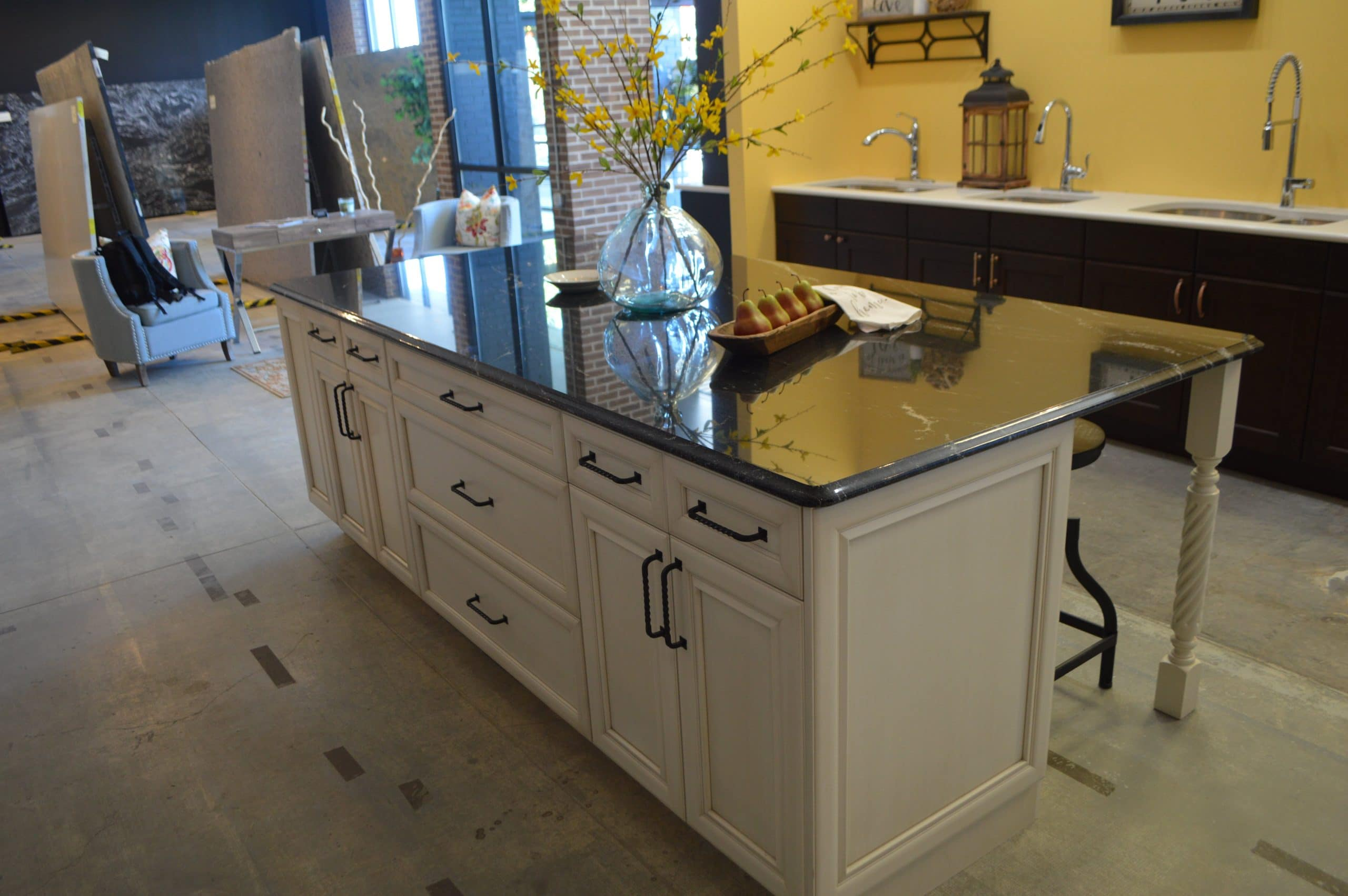 kitchen island in showroom