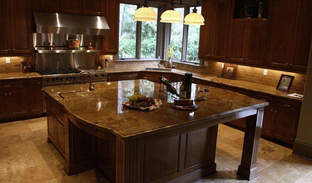 Gorgeous granite countertops and a beautiful kitchen island with a granite countertop