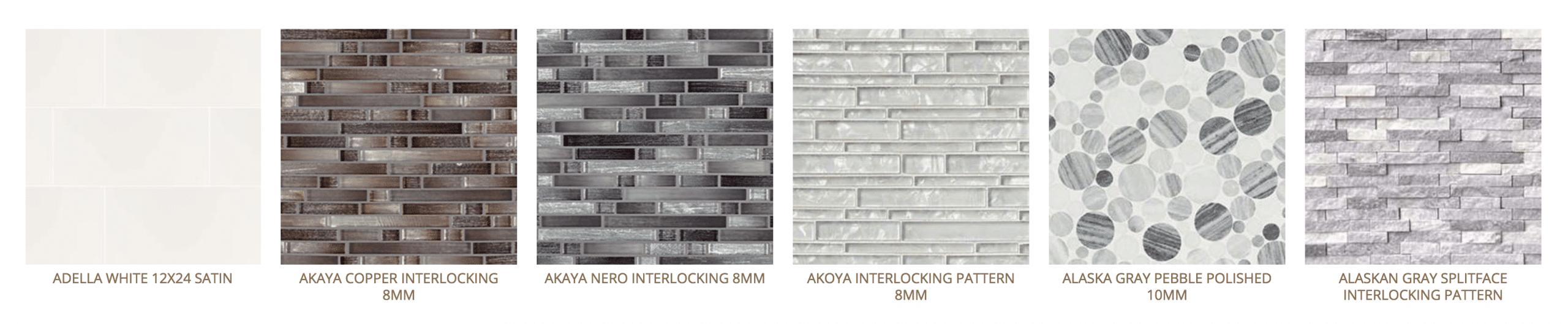 various backsplash tiles