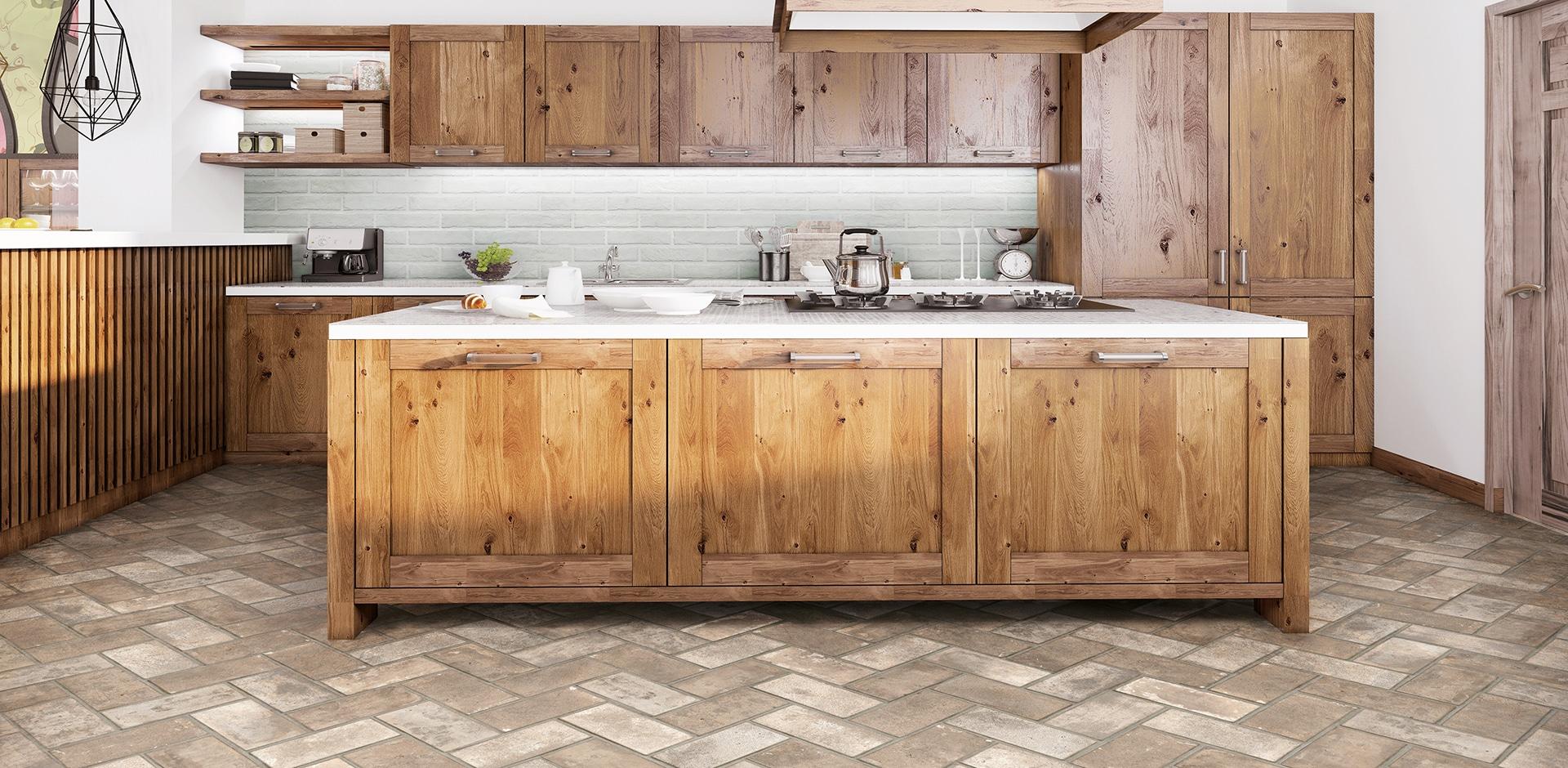 brown cabinets on ivory brick flooring